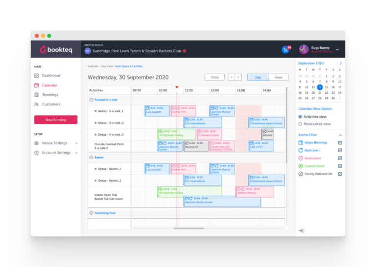 Sports facility booking software calendar | Bookteq