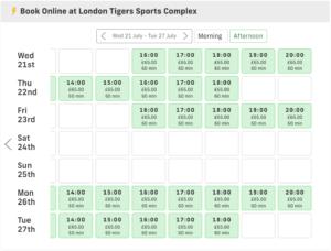 London Tigers booking calendar on Playfinder