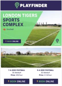 London Tigers Sports Complex Playfinder marketing email